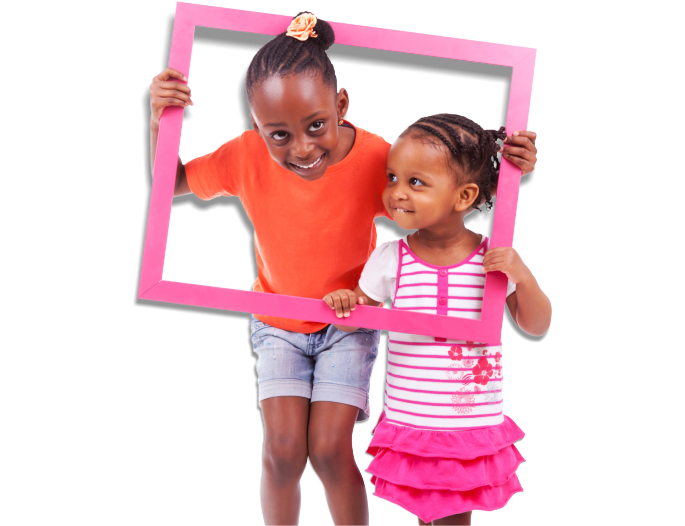 african american kids playing with frames
